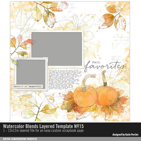 Watercolor Blends Layered Template 15 Digital Art - Digital Scrapbooking Kits