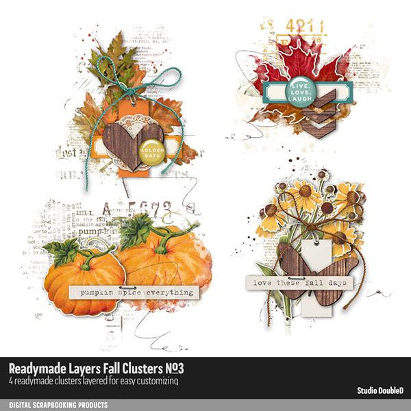 Readymade Layers Fall Clusters 03 Digital Art - Digital Scrapbooking Kits