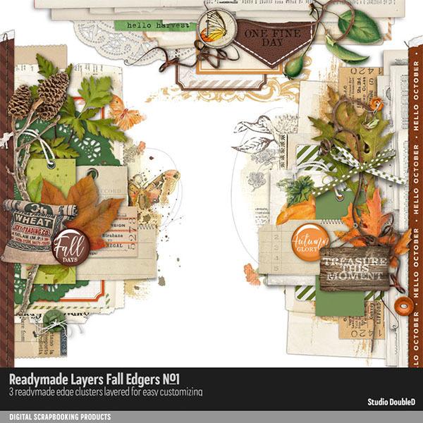 Readymade Layers Fall Edgers 01 Digital Art - Digital Scrapbooking Kits