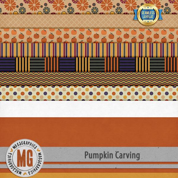 Pumpkin Carving SLF Papers Digital Art - Digital Scrapbooking Kits