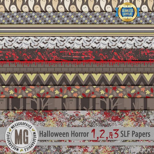 Halloween Horror SLF Papers Digital Art - Digital Scrapbooking Kits