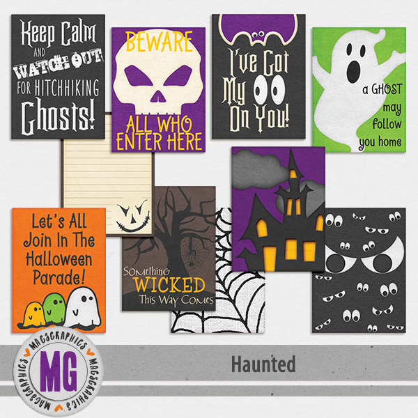 Haunted Journal Cards Digital Art - Digital Scrapbooking Kits