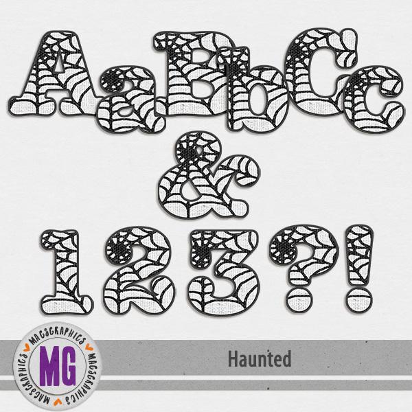 Haunted Alpha Digital Art - Digital Scrapbooking Kits