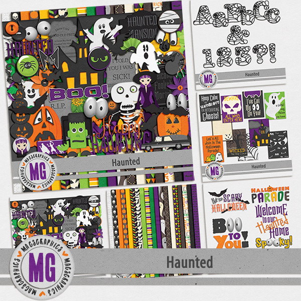 Haunted Bundle Digital Art - Digital Scrapbooking Kits