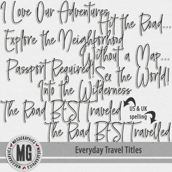 Everyday Travel Titles Digital Art - Digital Scrapbooking Kits