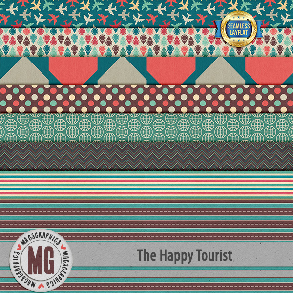 The Happy Tourist SLF Papers Digital Art - Digital Scrapbooking Kits