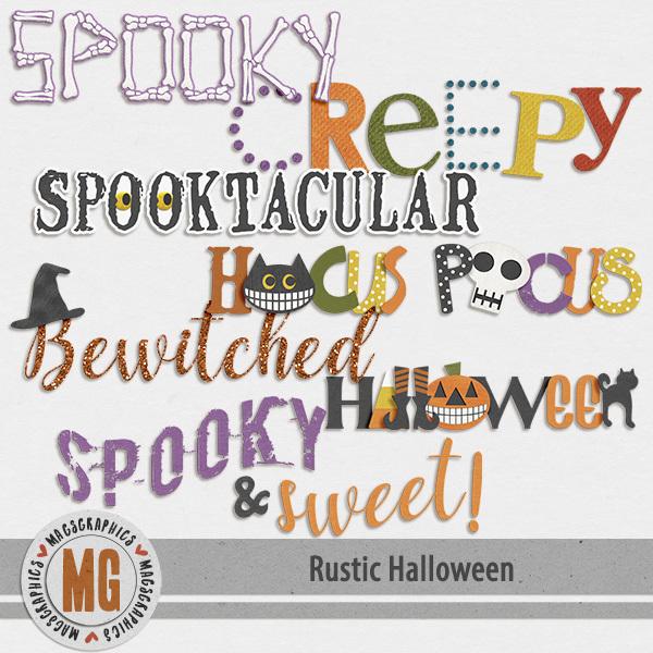 Rustic Halloween Word Art Digital Art - Digital Scrapbooking Kits