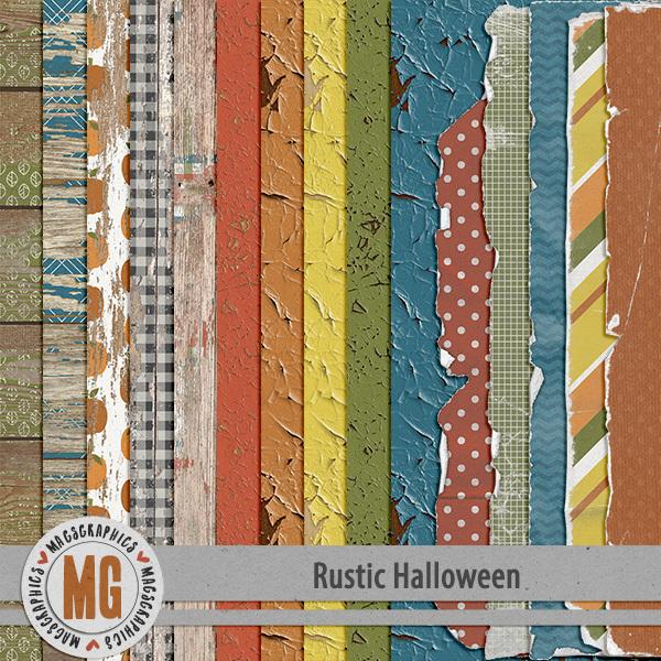 Rustic Halloween Wood & Worn Papers Digital Art - Digital Scrapbooking Kits