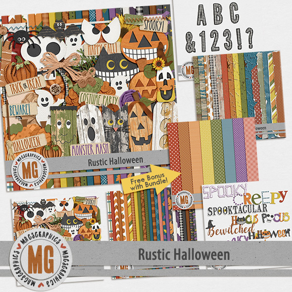 Rustic Halloween Bundle Digital Art - Digital Scrapbooking Kits