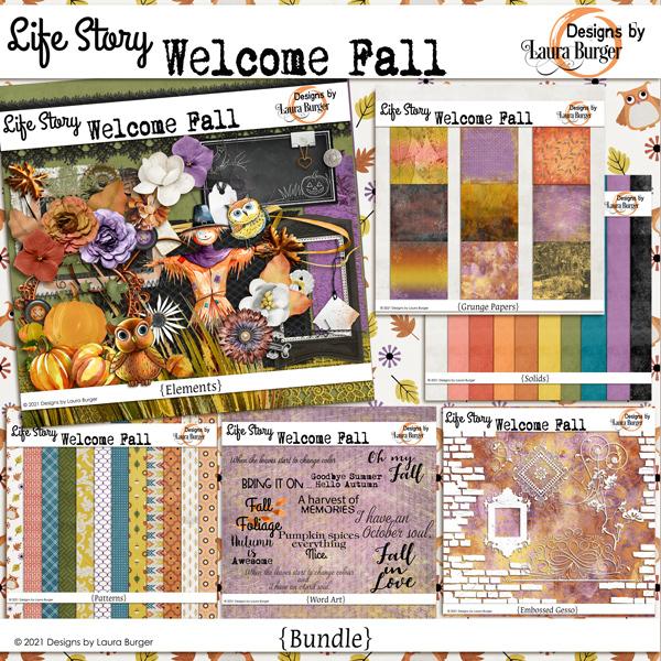 Life Story Welcome Fall Bundle Digital Art - Digital Scrapbooking Kits