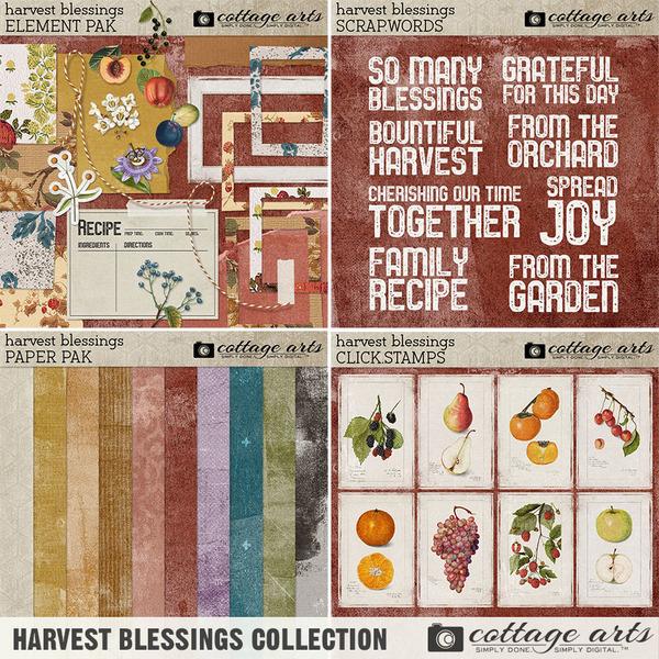 Harvest Blessings Collection Digital Art - Digital Scrapbooking Kits