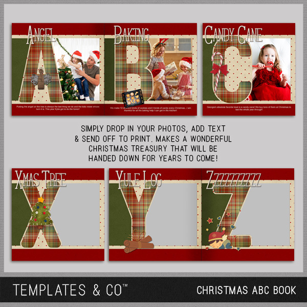 Christmas ABC Book Digital Art - Digital Scrapbooking Kits