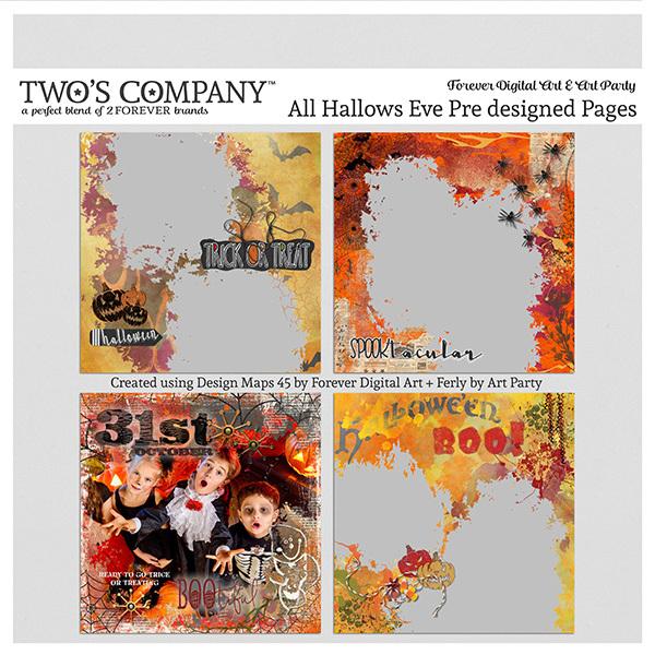 All Hallows Eve Pre designed Pages Digital Art - Digital Scrapbooking Kits