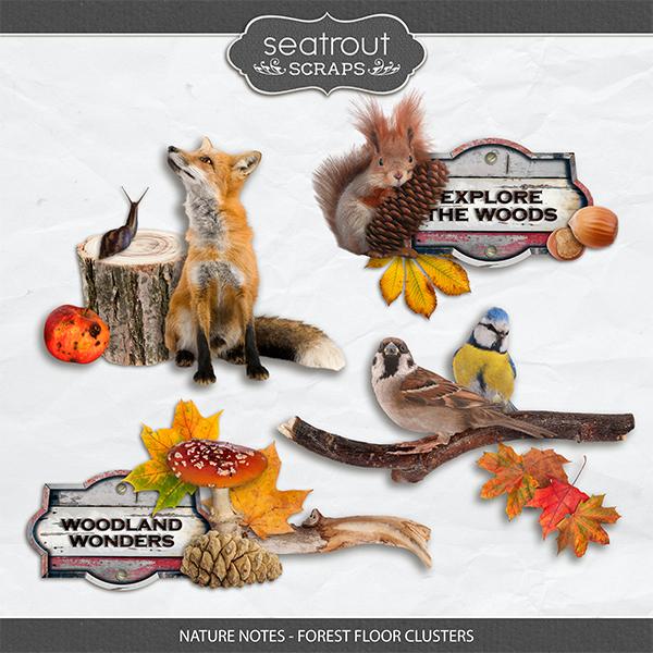 Nature Notes - Forest Floor Clusters Digital Art - Digital Scrapbooking Kits