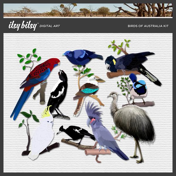 Birds of Australia Kit Digital Art - Digital Scrapbooking Kits