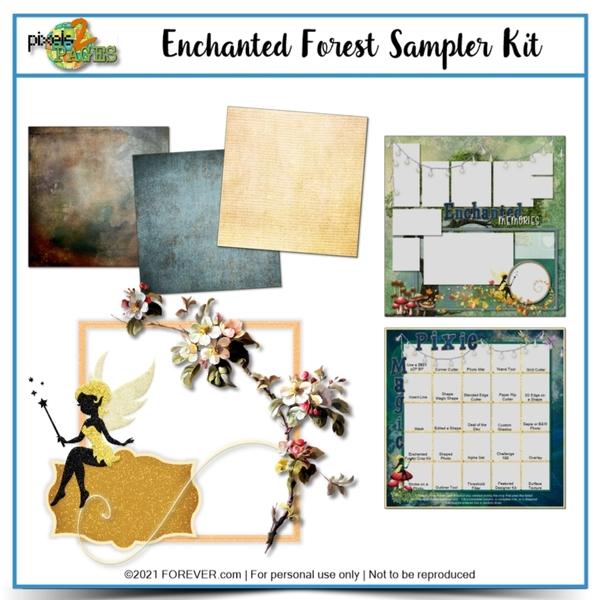 Enchanted Forest Sample Kit Digital Art - Digital Scrapbooking Kits