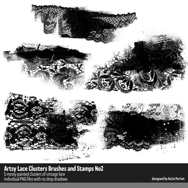 Artsy Lace Clusters Brushes and Stamps 02 Digital Art - Digital Scrapbooking Kits