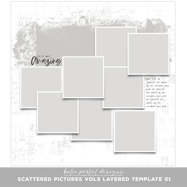 Scattered Pictures Vol. 03 Layered Template 01 Digital Art - Digital Scrapbooking Kits