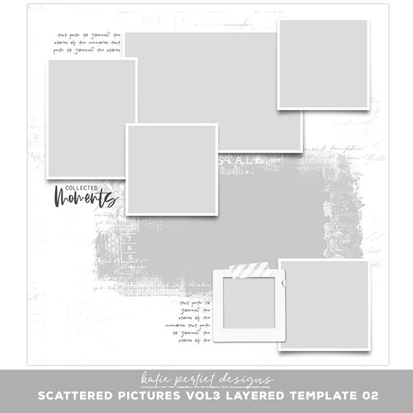 Scattered Pictures Vol. 03 Layered Template 02 Digital Art - Digital Scrapbooking Kits