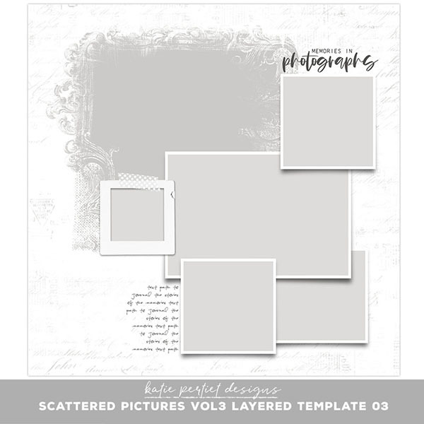 Scattered Pictures Vol. 03 Layered Template 03 Digital Art - Digital Scrapbooking Kits