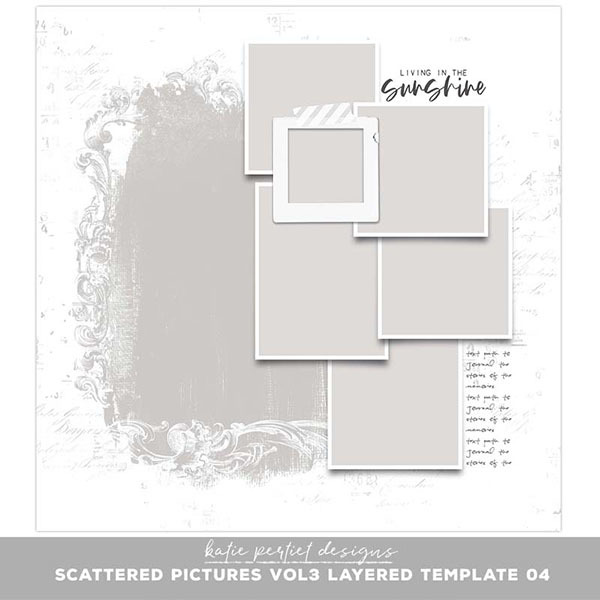 Scattered Pictures Vol. 03 Layered Template 04 Digital Art - Digital Scrapbooking Kits
