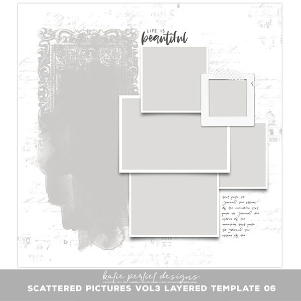 Scattered Pictures Vol. 03 Layered Template 06 Digital Art - Digital Scrapbooking Kits