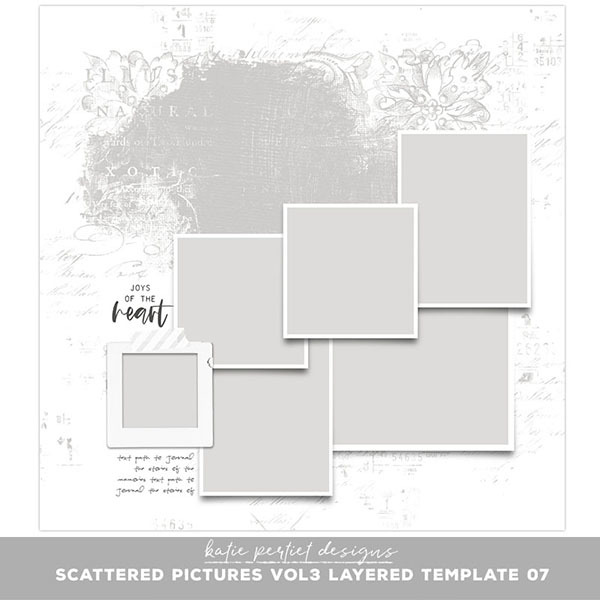 Scattered Pictures Vol. 03 Layered Template 07 Digital Art - Digital Scrapbooking Kits