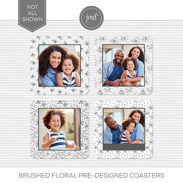 Brushed Floral Pre-Designed Coasters Digital Art - Digital Scrapbooking Kits