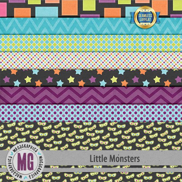 Little Monsters SLF Papers Digital Art - Digital Scrapbooking Kits