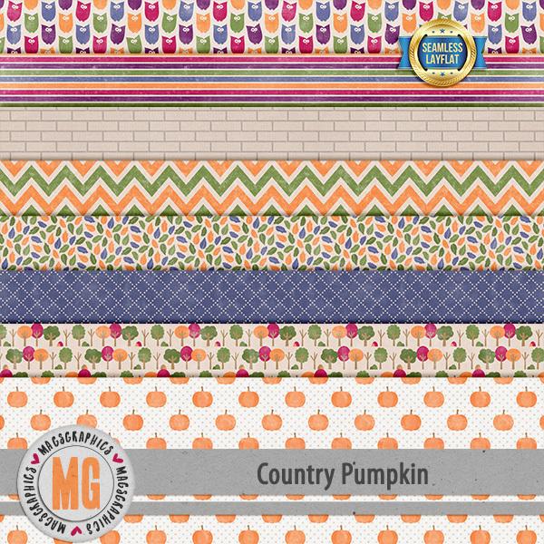 Country Pumpkin SLF Papers Digital Art - Digital Scrapbooking Kits