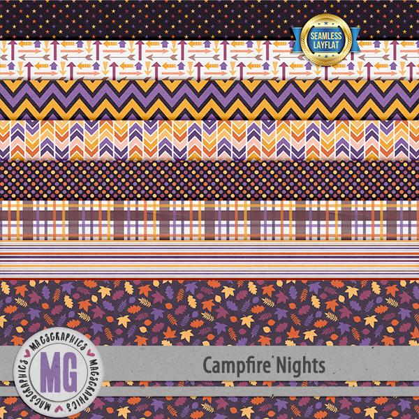 Campfire Nights SLF Papers Digital Art - Digital Scrapbooking Kits