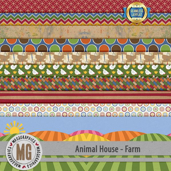 Animal House - Farm SLF Papers Digital Art - Digital Scrapbooking Kits
