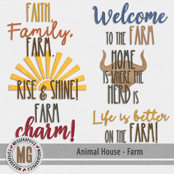 Animal House - Farm Word Art Digital Art - Digital Scrapbooking Kits