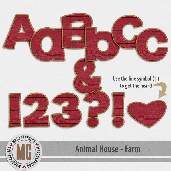 Animal House - Farm Alpha Digital Art - Digital Scrapbooking Kits