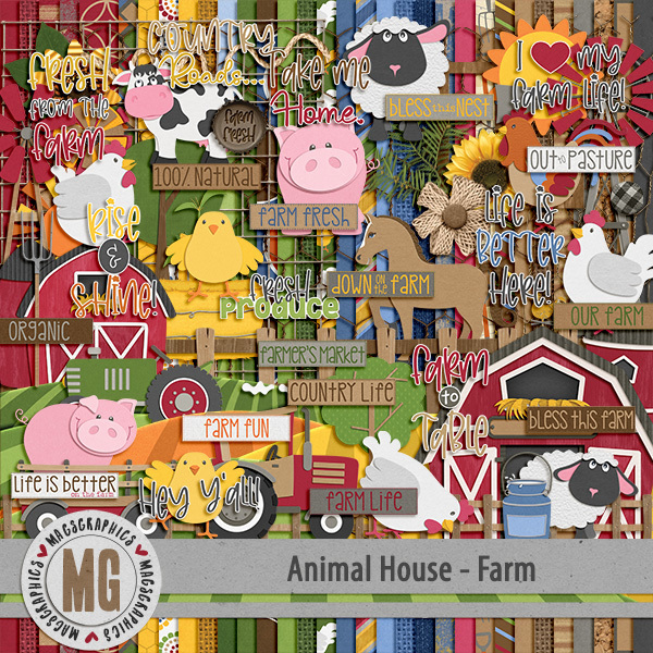 Animal House - Farm Kit Digital Art - Digital Scrapbooking Kits