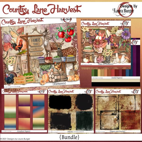 Country Lane Harvest Bundle Digital Art - Digital Scrapbooking Kits