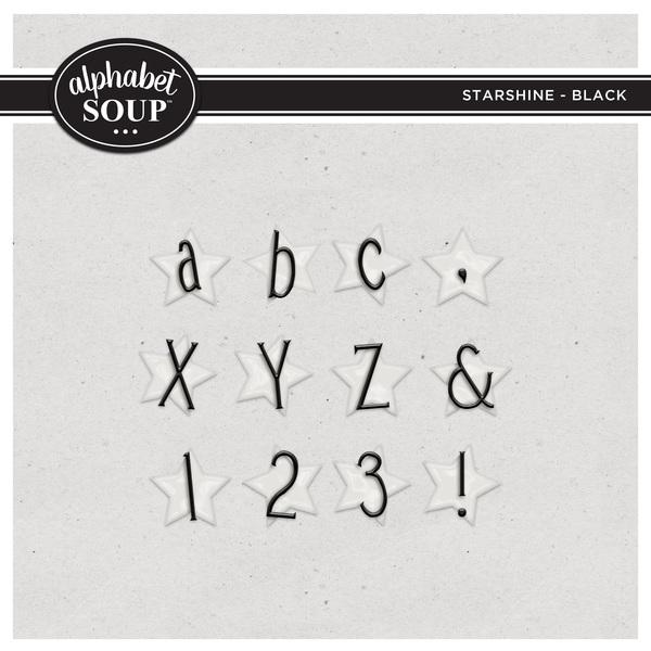 Starshine Alpha - Black Digital Art - Digital Scrapbooking Kits