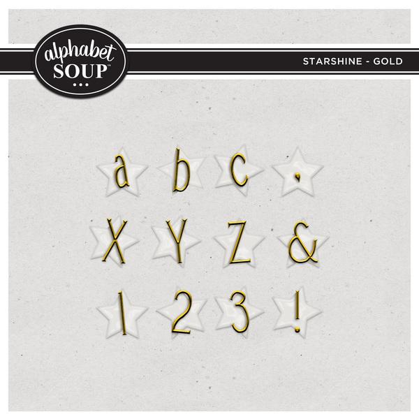 Starshine Alpha - Gold Digital Art - Digital Scrapbooking Kits