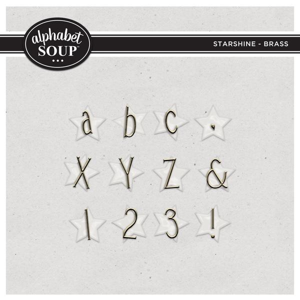 Starshine Alpha - Brass Digital Art - Digital Scrapbooking Kits
