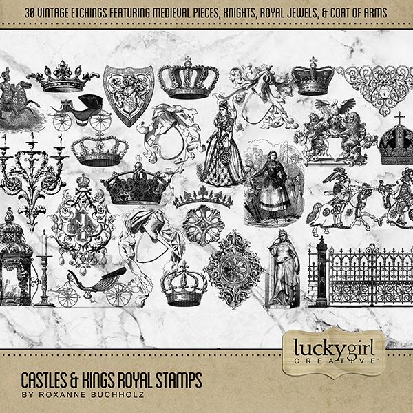 Castles & Kings Royal Stamps Digital Art - Digital Scrapbooking Kits