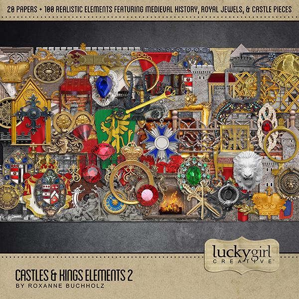 Castles & Kings Elements 2 Digital Art - Digital Scrapbooking Kits