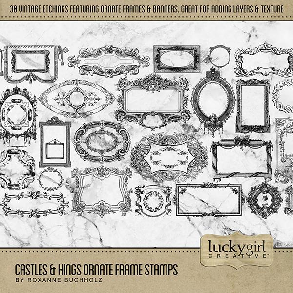 Castles & Kings Ornate Frame Stamps Digital Art - Digital Scrapbooking Kits