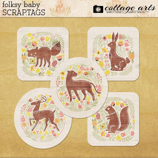 Folksy Baby Scrap.Tags Digital Art - Digital Scrapbooking Kits