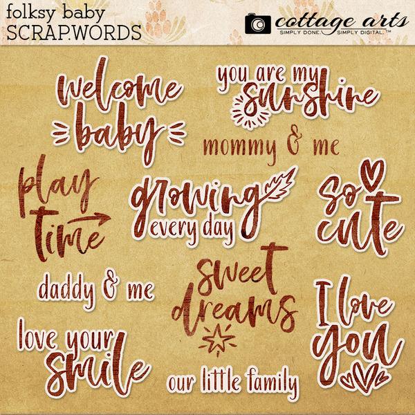 Folksy Baby Scrap.Words Digital Art - Digital Scrapbooking Kits