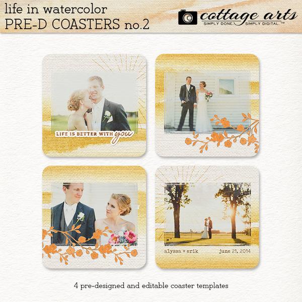 Life in Watercolor Pre-designed Coasters 2 Digital Art - Digital Scrapbooking Kits