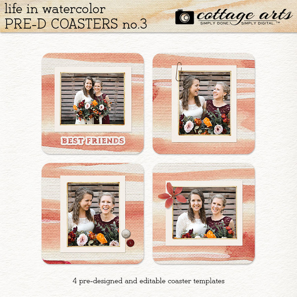 Life in Watercolor Pre-designed Coasters 3 Digital Art - Digital Scrapbooking Kits
