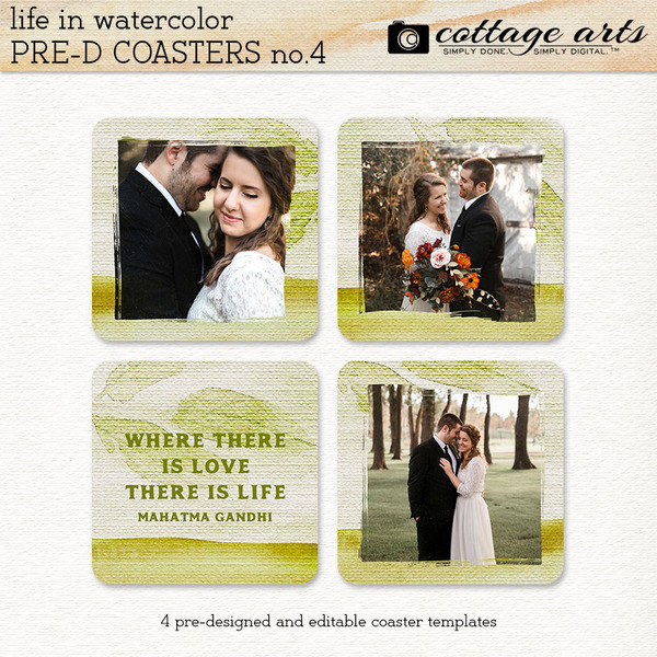 Life in Watercolor Pre-designed Coasters 4 Digital Art - Digital Scrapbooking Kits