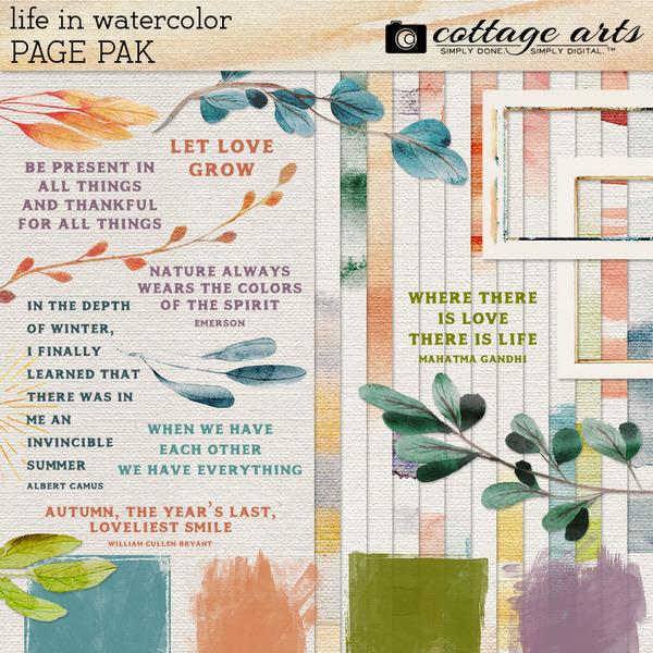 Life in Watercolor Page Pak Digital Art - Digital Scrapbooking Kits