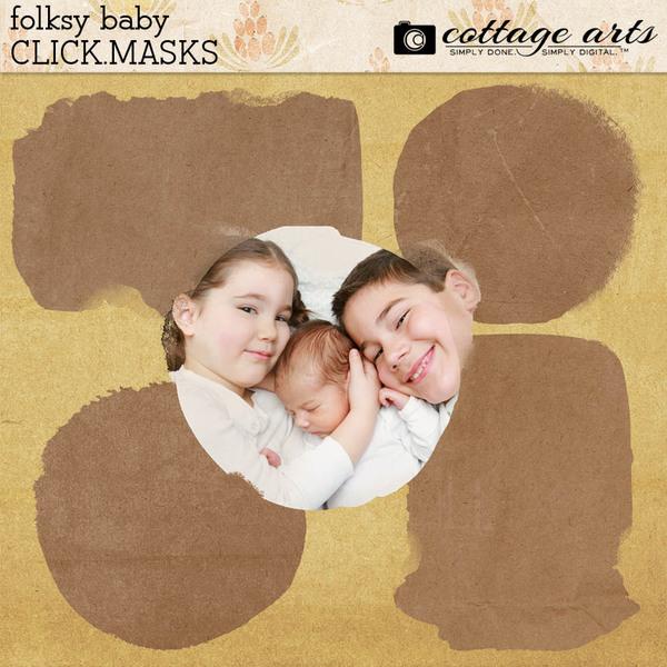 Folksy Baby Click.Masks Digital Art - Digital Scrapbooking Kits