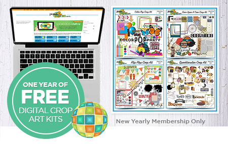 Join pixels2Pages™ with a New Yearly Membership and get one year's worth of crop kits FREE!